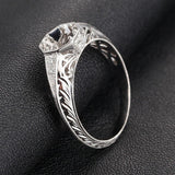 Diamond Engagement Semi Mount ring 14K White Gold Setting Round 6.5mm Filigree Hand Engraved - Lord of Gem Rings - 5