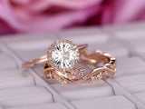 Round Moissanite Engagement Ring Sets Floral Diamond Wedding Band 14K Rose Gold 6.5mm