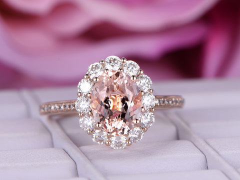 Oval Morganite Engagement Ring Moissanite Halo 14K Rose Gold 6x8mm