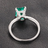 Emerald Shape Emerald Engagement Ring Pave Diamond Wedding 14K White Gold 6x8mm CLAW PRONGS - Lord of Gem Rings - 4