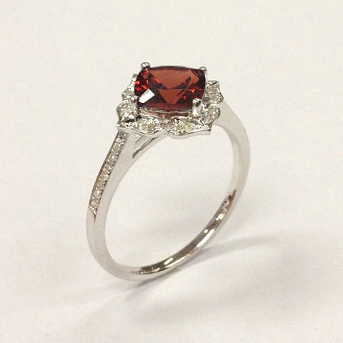 Cushion Red Garnet Engagement Ring Pave Diamond Wedding 14K White Gold 7mm  Art Deco - Lord of Gem Rings - 4