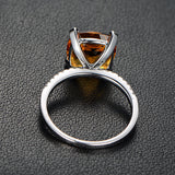 Cushion Citrine Engagement Ring Pave Diamond Wdedding 14K White Gold 9x9mm - Lord of Gem Rings - 4