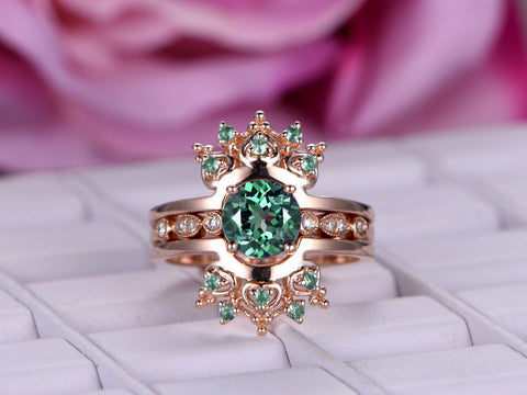 Round Alexandrite Engagement Ring Sets Alexandrite Tiara Ring Enhancer 14K Rose Gold 6.5mm