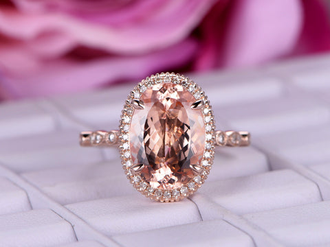 Oval Morganite Engagement Ring Pave Diamond 14K Rose Gold Milgrain Under Gallery Elongated 10x14mm