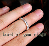 Bezel Natural 1.03ctw Diamonds Wedding Band Eternity Anniversary Ring 14K White Gold - Lord of Gem Rings - 4
