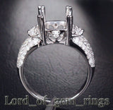 Diamond Engagement Semi Mount Ring 14K White Gold Setting Cushion 7.5-8mm - Lord of Gem Rings - 4