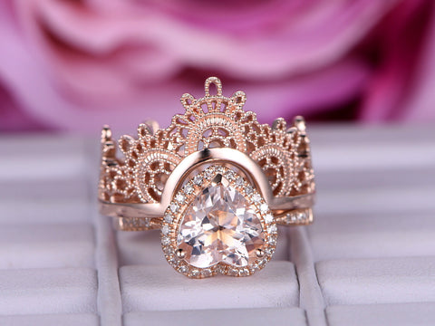 Amazing Heart Morganite Engagement Ring Sets Contour Tiara Wedding Ring 14K Rose Gold 8mm