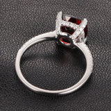 Cushion Garnet Engagement Ring Pave Diamond Wedding 14K White Gold 8x8mm - Lord of Gem Rings - 4