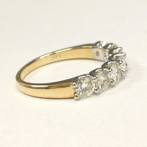 featuring gold stone diamond two diamonds ever forevermark white bands ring wedding band us