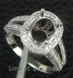 Diamond Engagement Semi Mount Ring 14K White Gold Oval 7x9mm Halo Milgrain - Lord of Gem Rings - 4