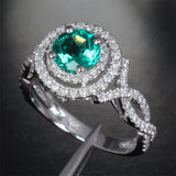 Round Emerald Engagement Ring Pave Diamond Wedding 14k White Gold 6.6mm Double Halo - Lord of Gem Rings - 4