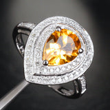 Pear Citrine Engagement Ring Pave Diamond Wedding 14K White Gold 7x9mm Double Halo - Lord of Gem Rings - 4