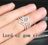 Diamond Engagement Semi Mount Ring 14K White Gold Setting Marquise 4x8mm - Lord of Gem Rings - 4