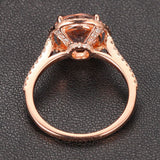 Ready to Ship - Round Morganite Engagement Ring Pave Diamond Wedding 14K Rose Gold 8mm - Lord of Gem Rings - 5