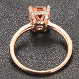 Cushion Morganite Engagement Ring Pave Diamonds Wedding 14K Rose Gold 6x8mm CLAW PRONGS - Lord of Gem Rings - 3
