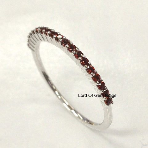 garnet wedding band half eternity anniversary ring 14k white gold lord of gem rings