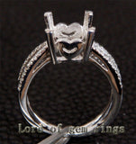 Diamond Engagement Semi Mount Ring 14K White Gold Setting Cushion 9mm - Lord of Gem Rings - 4