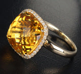 Cushion Citrine Engagement Ring Pave Diamond Wedding 14k yellow gold - Lord of Gem Rings - 4