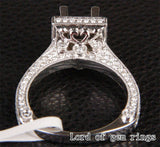 Diamond Engagement Semi Mount Ring 14K White Gold Setting Princess 5.25-6.25mm - Lord of Gem Rings - 4