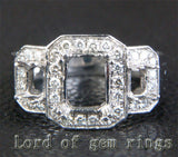 Diamond Engagement Semi Mount Ring 14K White Gold Setting Emerald Cut 6x8mm 3 stones - Lord of Gem Rings - 4