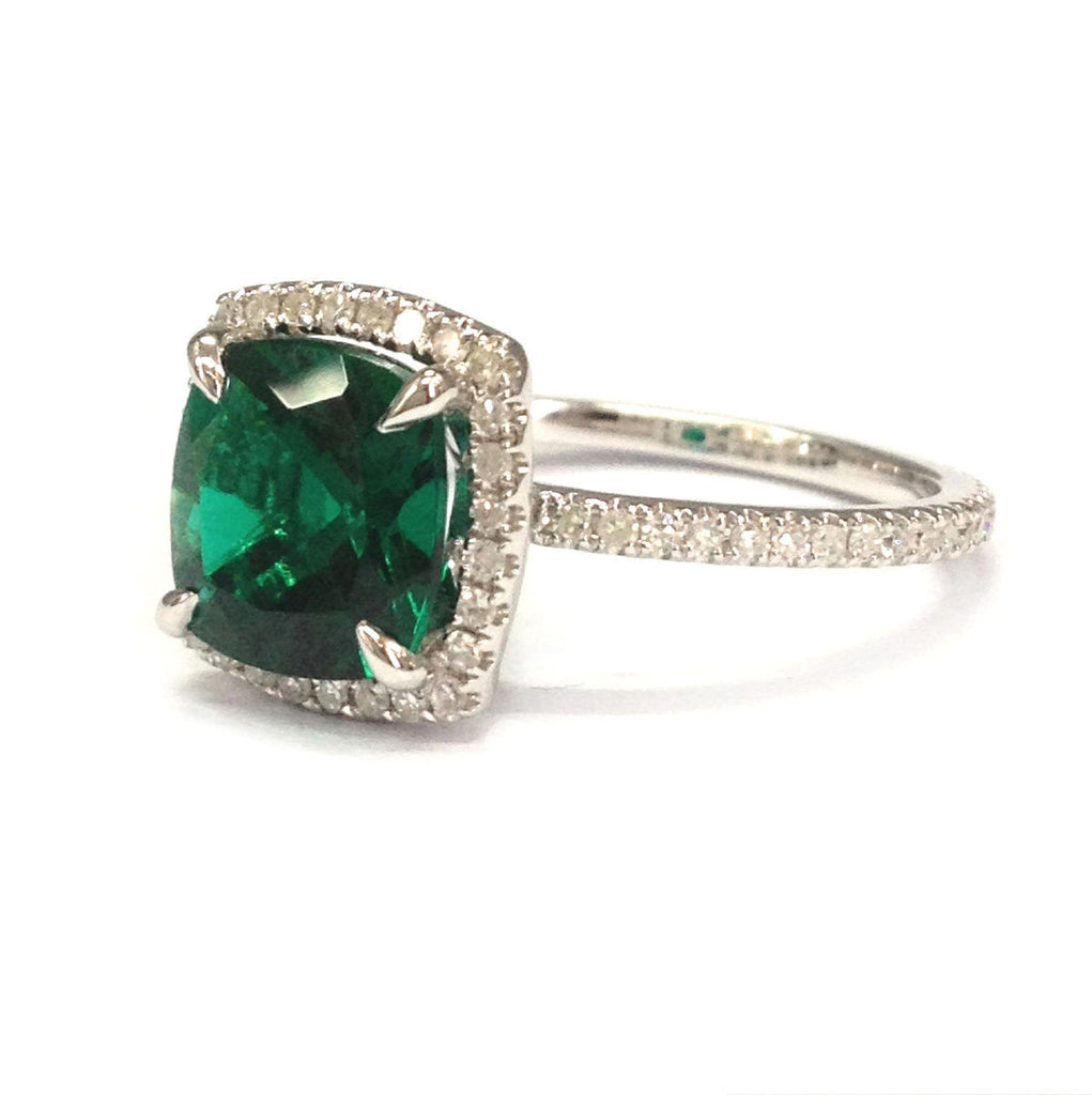 $588 Cushion Emerald Engagement Ring Pave Diamond Wedding 14k White Gold – Lo