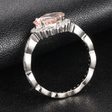 Asscher Morganite Engagement Ring Diamond Wedding 14K White Gold - Lord of Gem Rings - 4