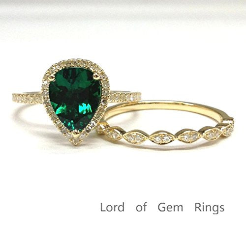 Pear Emerald Engagement Ring Sets Pave Diamond Wedding 14K Yellow Gold,7x9mm,Art Deco Band - Lord of Gem Rings - 1