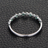 Natural Emerald Diamond Wedding Band Half Eternity Anniversary Ring 14K White Gold - Lord of Gem Rings - 4