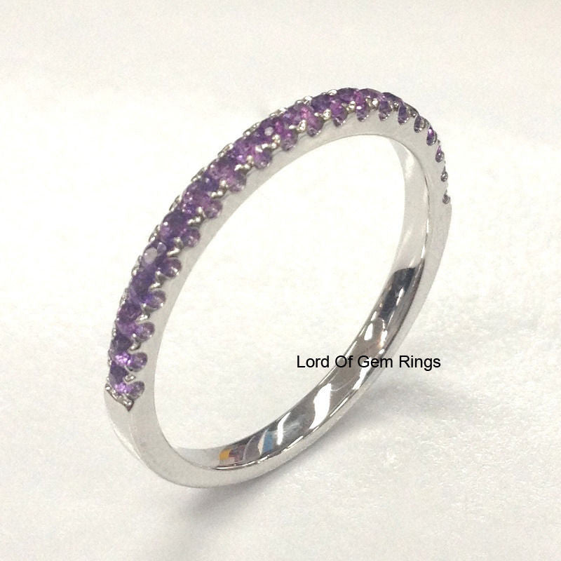 Purple Amethyst Wedding Band Half Eternity Anniversary Ring 14K White Gold 2mm Round - Lord of Gem Rings - 4