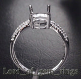 Diamond Engagement Semi Mount Ring 14K White Gold Setting Oval 7x9mm - Lord of Gem Rings - 4