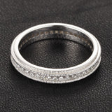 Diamond Wedding Band Eternity Anniversary Ring 14K White Gold Art Deco Double Milgrain - Lord of Gem Rings - 4