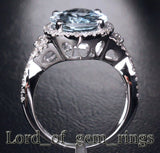 Oval Aquamarine Engagement Ring Pave Diamond Wedding 14K White Gold,10x13mm - Lord of Gem Rings - 4