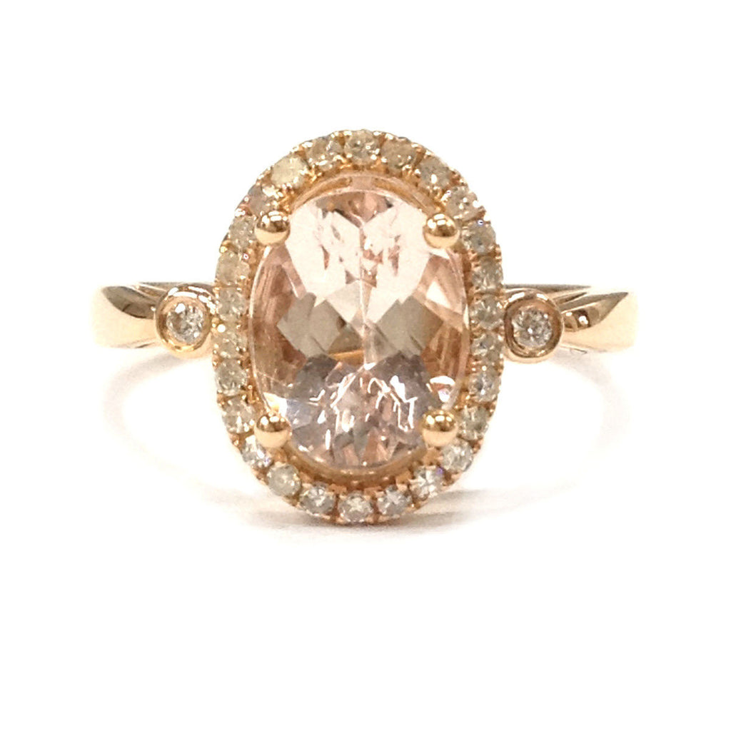 Oval Morganite Engagement Ring Pave Diamond Wedding 14K Rose Gold 7x9mm - Lord of Gem Rings - 2