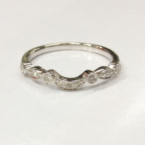 Diamond Wedding Band Half Eternity Anniversary Ring 14K White Gold Art Deco Antique - Lord of Gem Rings - 4