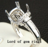 Diamond Engagement Semi Mount Ring 14K White Gold Setting Cushion 10mm Channel - Lord of Gem Rings - 4