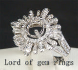 Unique Flower 6mm Round Cut 14K White Gold .68CT Diamond Engagement Semi Mount Setting - Lord of Gem Rings - 4