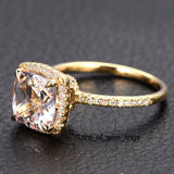 Reserved for asipony Cushion Morganite Engagement Ring Pave Diamond Wedding 14K Yellow Gold - Lord of Gem Rings - 4