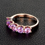 Round Pink Sapphire Wedding Band Anniversary Ring 14K Rose Gold 5 stones - Lord of Gem Rings - 4