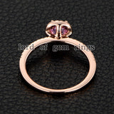 Round Pink Sapphire Engagement Ring Pave Diamond Wedding 14K Rose Gold 4.5mm - Lord of Gem Rings - 4