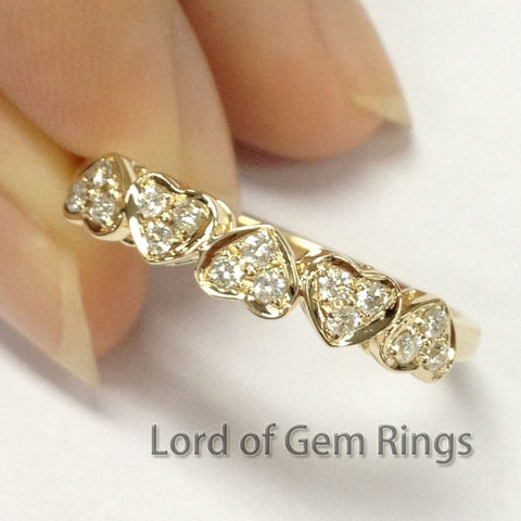 $419 Diamond Wedding Band Heart Ring 14K Yellow Gold – Lord of Gem