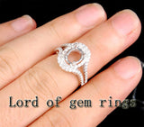 Diamond Engagement Semi Mount Ring 14K White Gold Setting Oval 6x8mm - Lord of Gem Rings - 4
