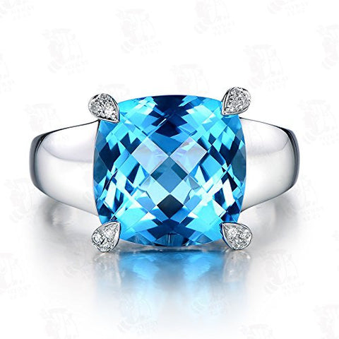 11mm Cushion Swiss Blue Topaz Engagement Ring in 14K White Gold - Lord of Gem Rings - 1