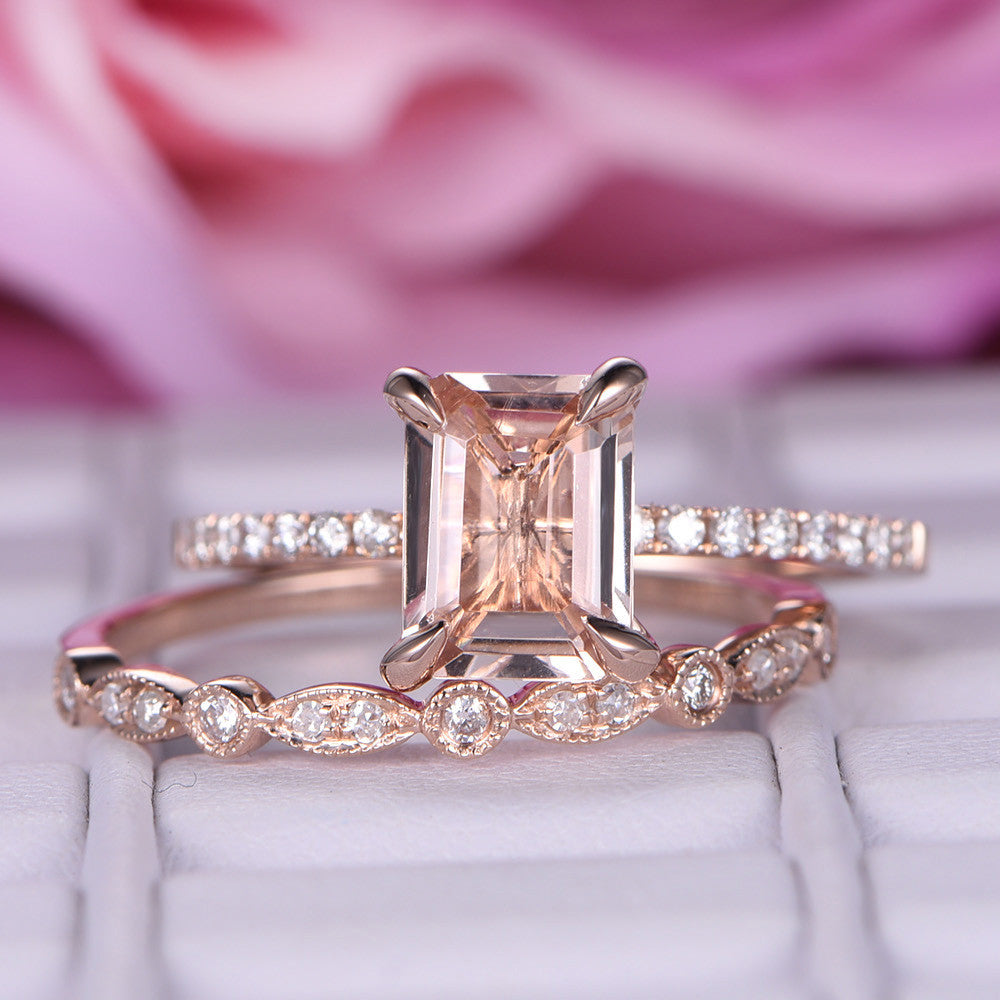 $625 Emerald Cut Morganite Engagement Ring Sets Pave Diamond Wedding ...