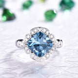 Cushion London Blue Topaz Engagement Ring Pave Diamond  Wedding 14K White Gold 8mm