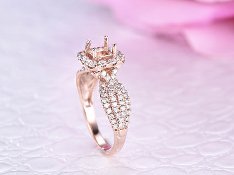 Full Cut Diamond Semi Mount Ring 14K Rose Gold  Princess 4.5x4.5mm