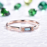 Emerald Cut Alexandrite Engagement Ring Full Cut Diamond 14K Rose Gold 2x4mm