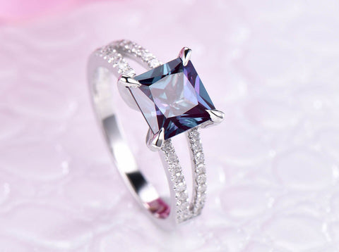 Princess Alexandrite  Ring Pave Diamond 14K White Gold 7mm