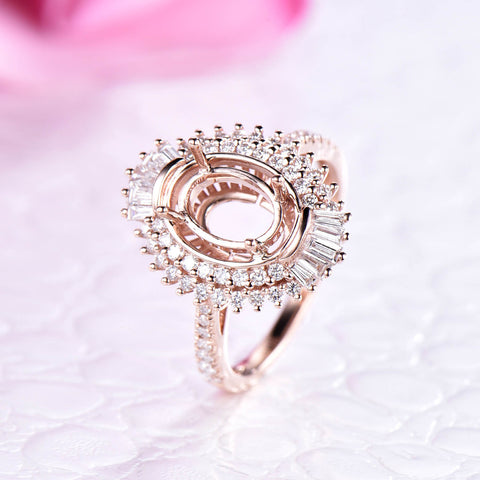 Baguette and Round VS Diamond Double Halo Semi Mount Ring 14K Rose Gold  Oval 6x8mm