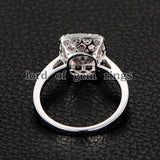 Cushion Morganite Engagement Ring Pave Diamond Halo 14K Rose Gold 8mm - Lord of Gem Rings - 5
