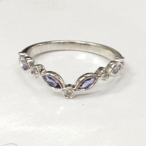 Tanzanite Diamond Wedding Band Half Eternity Anniversary Ring 14K White Gold Art Deco Antique Cured - Lord of Gem Rings - 1